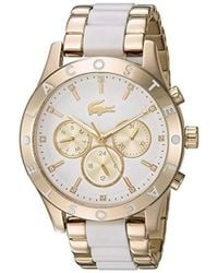 Lacoste - 'charlotte' Quartz Stainless Steel Casual Watch, Color:gold-toned (model: 2000963) - Lyst