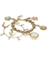 Anne Klein - Ak/3044chst Swarovski Crystal Accented Gold-tone Charm Watch And Bracelet Set - Lyst