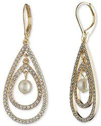 Anne Klein - Gold Tone Pearl Orbital Drop Earrings, Pearl, One Size - Lyst