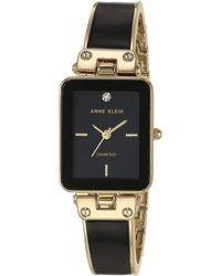 Anne Klein Diamond-accented Bangle Watch - Black