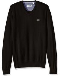 Lacoste Cotton -jersey-v-neck-sweater,-pantherblack