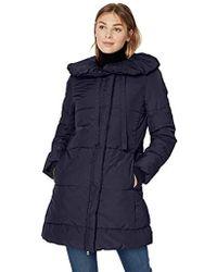 Lark & Ro Long Shawl Pillow Collar Puffer Jacket - Blue