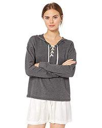 Mae Amazon Brand - Loungewear Lace Up Sweatshirt With Hood - Gray