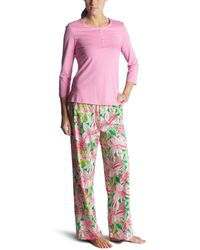 Lilly Pulitzer Pick Of The Bunch Sateen Pant With Knit Top Pj Set,pulizter Pink,small