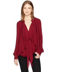 Nicole Miller Solid Silk Blouse W/option To Tie - Red
