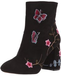 Nanette Lepore Lilly Embroidered Floral Faux Suede Booties - Black