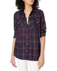 Jessica Simpson Petunia High Low Button Up Shirt - Blue