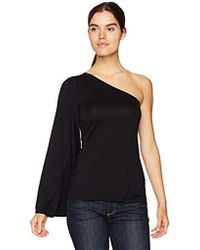 Three Dots Refined Jersey One Shoulder Loose Mid Shirt - Black