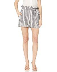 Cupcakes And Cashmere - Monterey Stripe Linen Paper Bag Short - Lyst