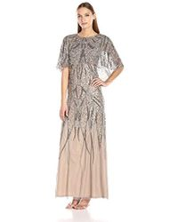 Adrianna Papell - Beaded Pop Over Caplet Gown - Lyst