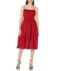 Vera Wang Lace Strapless Dress - Red
