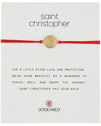 Dogeared - St. Christopher On Red Cord Bracelet Necklace - Lyst