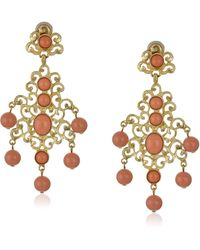 Kenneth Jay Lane Gold-tone Filigree Earrings With Coral Drops - Metallic