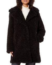 Kensie Faux Fur Reversible Coat - Black