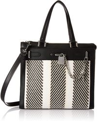 Calvin Klein Roxy Raffia North/south Box Chain Detail Tote - Black