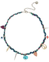 BCBGeneration - Mixed Charm Braided Necklace - Lyst