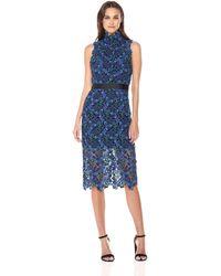 ML Monique Lhuillier Lace Midi Dress - Blue