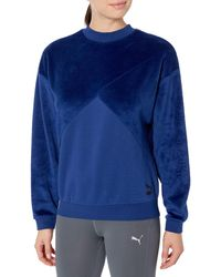 PUMA Fabric Block Crew Neck Sweatshirt - Blue