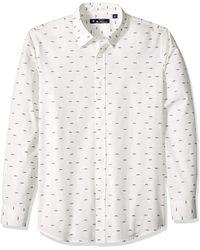 Ben Sherman Ls Trumpet Print Shirt Button - White