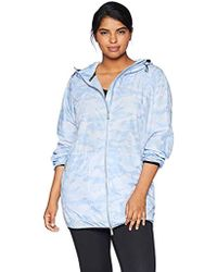 Calvin Klein Plus Size Camo Print Walker Length Jacket Packable Into Backpack - Blue
