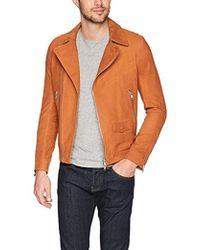 J.Lindeberg Smooth Suede Moto Jacket - Orange
