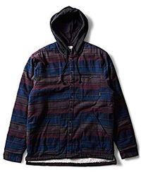 Billabong Baja Sherpa Hooded Flannel Shirt - Blue