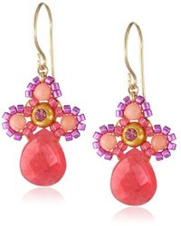 Miguel Ases - Small Swarovski Center Pink Coral And Dyed Red Quartzite Miyuki Drop Earrings - Lyst