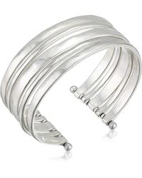 Lucky Brand Large Silver Cuff Bracelet - Metallic