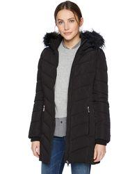 Tommy Hilfiger Mid Length Down Alternative Jacket With Faux Fur Trim Hood - Black