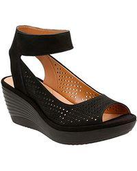 Clarks Reedly Salene Wedge Sandal - Black