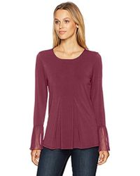 Adrianna Papell Crew Neck Pleated Front Woven Back Long Sleeve - Multicolor