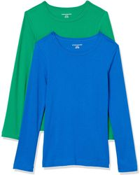 Amazon Essentials 2-Pack Slim-fit Long-Sleeve Crewneck T-Shirt Fashion - Bleu