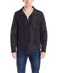 Perry Ellis Poly Zip Front Packable Jacket - Black
