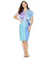 Gottex Short Sleeve Belted Kimono Wrap Swimsuit Cover Up - Blue