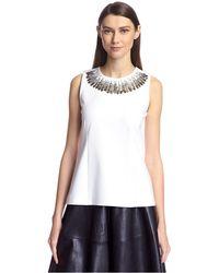 SOCIETY NEW YORK Sleeveless Sequin Trim Top - White
