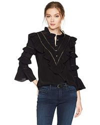 Rebecca Taylor - Long Sleeve Silk & Lace Top - Lyst