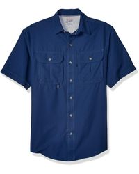 Izod Saltwater Surfcaster Short-sleeve Button-up Shirt - Blue