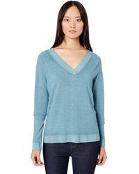 Pendleton Long-sleeve Magic Wash Merino V-neck Sweater - Blue