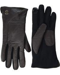 Calvin Klein Leather/suede Gloves W/debossed Logo - Multicolor