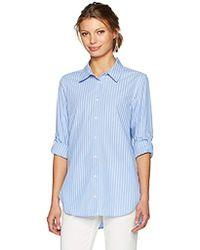 Calvin Klein Long Striped Boyfriend Tunic Top - Blue
