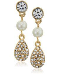 Anne Klein Gold Tone White Pearl Teardrop Linear Earrings - Metallic
