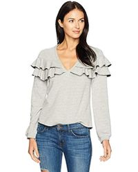 Only Hearts French Terry Ruffle Sweatshirt - Gray