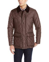 Cole Haan - Quilted Nylon Barn Jacket With Corduroy Details - Lyst