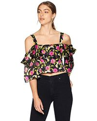 bece6343200be8 MILLY - Small Calla Lily Print On Chiffon Audrey Ruffle Crop Top - Lyst
