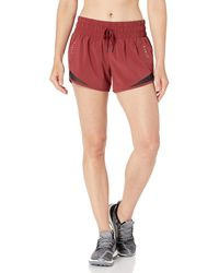 "Core 10 Amazon Brand - Women's (xs-3x) Rouched Waistband Run Short Brief Liner - 3"" Shorts, -ruby, 1x - Red"