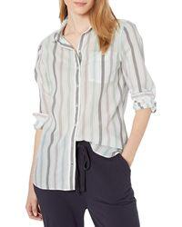 Goodthreads Cotton Dobby Long-Sleeve Button-Front Tunic Shirt - Gris