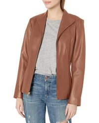 Cole Haan Leather Wing Collared Jacket - Brown