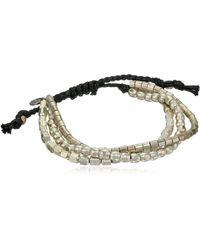 Tai Tripled Strand Nickel Mixed Beaded Bracelet - Metallic