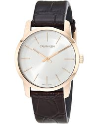 Calvin Klein City Analogue Stainless Steel/rose Gold Pvd Brown Leather With Silver Dial Watch - Multicolor