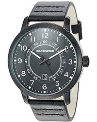 Skechers - 'dress Strap' Quartz Metal And Leather Casual Watch, Color Black (model: Sr5090) - Lyst